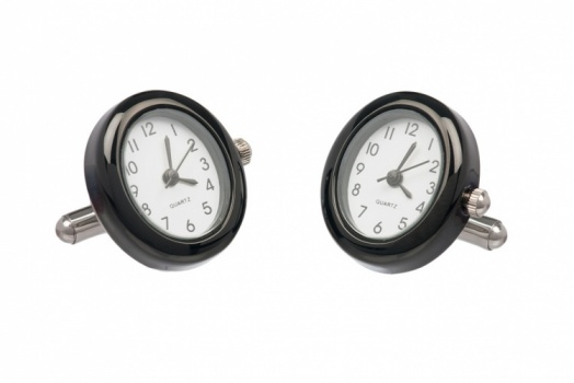 Oval Black Working Watch Cufflinks